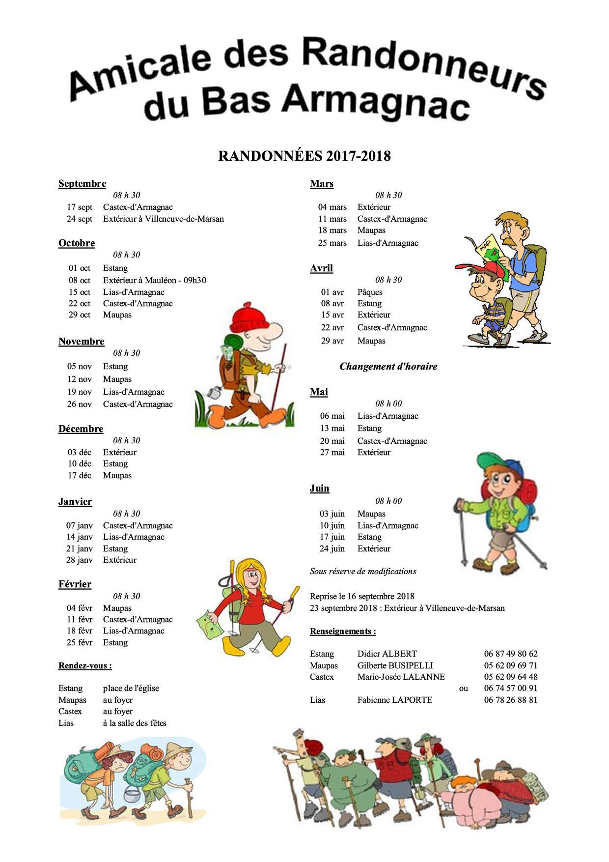 Randonnées du dimanche 2017-2018